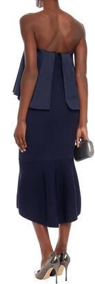 Sachin + Babi Strapless Layered Duchesse-satin And Ribbed-knit Midi Dress