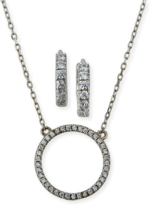 Helena Girl's Sterling Silver Cubic Zirconia Circle Necklace w/ Matching Hoop Earrings Set