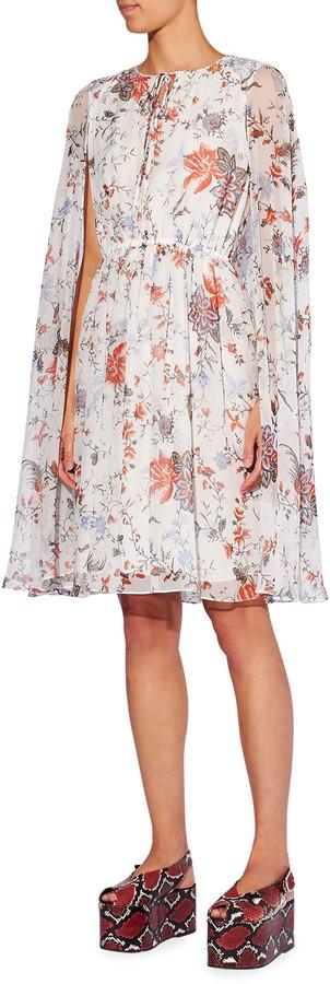 Thumbnail for your product : Erdem Austin Silk Cape-Sleeve Dress