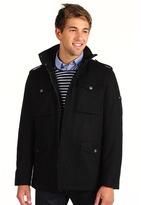 Ben Sherman Military Melton Wool Coat (Black) - Apparel