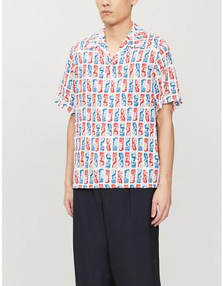 Kenzo Mermaid-print camp-collar woven shirt