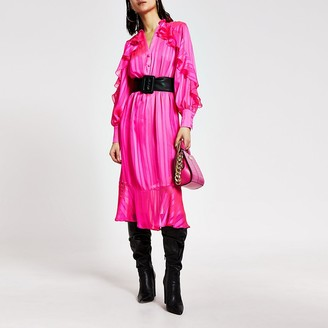 River Island Bright pink ruffle tie belted midi dress