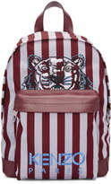 Kenzo Burgundy and Blue Small Striped Tiger Backpack