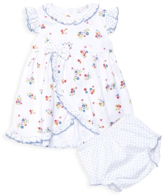Kissy Kissy Baby Girl's 2-Piece Blue Blossoms Dress & Bloomers Set
