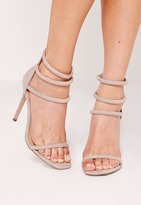 Missguided Rounded Four Strap Barely There Heels Grey