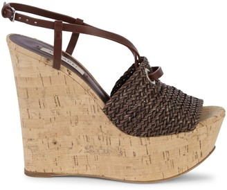 Casadei Leather Platform Wedge Slingback Sandals