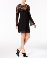 BCBGeneration Lace Illusion Bell-Sleeve Chiffon Dress