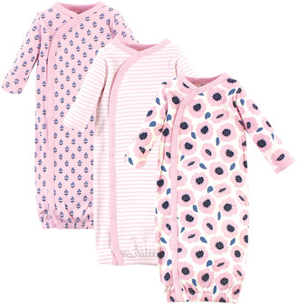 Touched by Nature Girls' Infant Gowns Blossoms - Pink & Navy Floral Organic Cotton Gown Set - Newborn