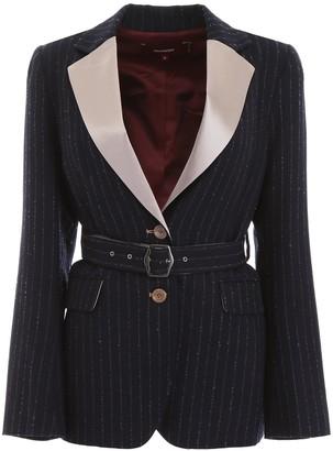 Sies Marjan Pinstripe Belted Blazer
