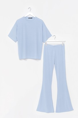 Nasty Gal Womens Up Tee You Top and Flare Pants Set - Blue