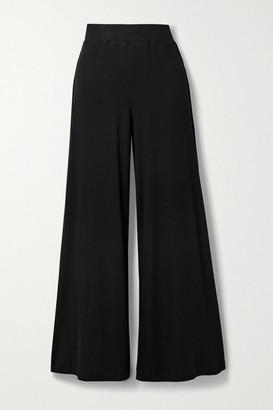 L'Agence Crawford Ribbed Stretch-modal Wide-leg Pants - Black