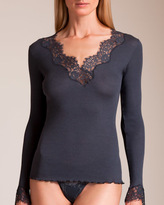Dana Pisarra Lione Ribbed Wool and Silk Long Sleeve Top