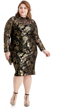 Rachel Roy Plus Size Metallic Mock-Neck Dress