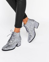 London Rebel Glitter Lace Up Mid Heel Ankle Boot