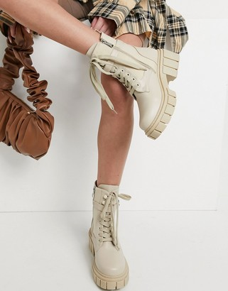 Simmi Shoes Simmi London chunky lace up boots with buckles in stone