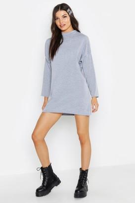 boohoo High Neck Long Sleeve T-Shirt Dress