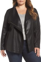 Plus Size Women's Two By Vince Camuto Coated Ponte Knit Moto Jacket