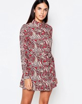 Rare Long Sleeve Paisley Shirt Dress