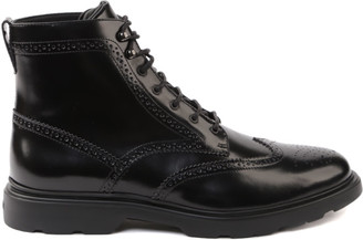 Hogan H393 Black Leather Ankle Boot