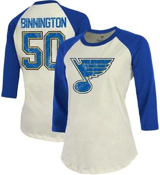 Women's Fanatics Branded Jordan Binnington Cream/Blue St. Louis Blues Name & Number Tri-Blend Raglan 3/4-Sleeve T-Shirt