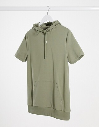 ASOS DESIGN muscle fit short sleeve hoodie in khaki