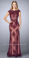 La Femme Scalloped Bateau Cascading Lace Evening Dress