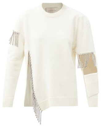 Christopher Kane Crystal-embellished Keyhole Wool Sweater - White