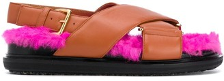 Marni Fur-Lined Strapped Flat Sandals