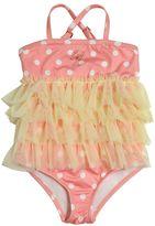 Miss Blumarine Polka Dot Printed Stretch Nylon Swimsuit