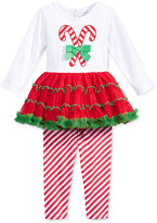 Sweet Heart Rose 2-Pc. Candy Cane Tutu Tunic & Leggings Set, Baby Girls (0-24 months)