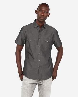 Express Slim Military Short Sleeve Shirt