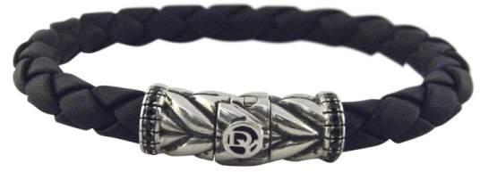 David Yurman 925 Sterling Silver Chevron Woven Rubber Black Diamonds Bracelet
