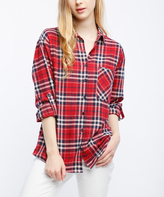 Red & Navy Plaid Button-Up