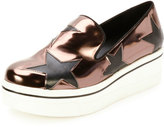 Stella McCartney Binx Metallic Star Platform Skate Sneaker, Gunmetal/Black