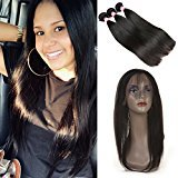 BP 360 Lace Frontal Brazilian Straight Hair Weave 7A Unprocessed Virgin Hair 3 Bundles with 360 Lace Frontal (16 18 20+14)