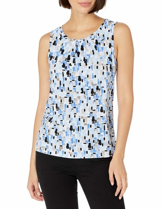 Kasper Women's Mosaic Tile Printed Twisted Neck Sleeveless CAMI