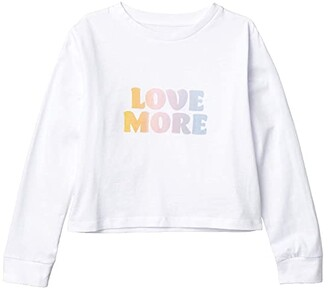 Cotton On Free Long Sleeve Tee (Big Kids) (White/Love More) Girl's Clothing