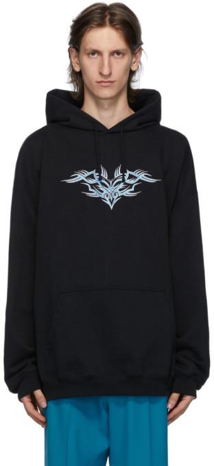 Vetements Black Embroidered Hoodie