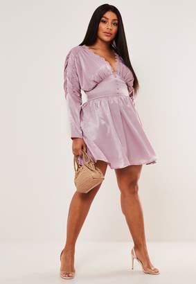 Missguided Plus Size Lilac Satin Trim Skater Dress