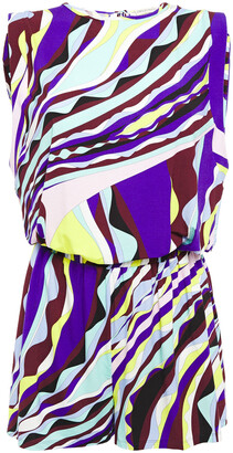 Emilio Pucci Gathered Printed Stretch-jersey Playsuit