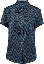 Marc by Marc Jacobs Checked washed-silk blouse