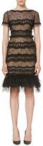 Carolina Herrera Short-Sleeve Ruffle-Trim Tulle Dress, Black