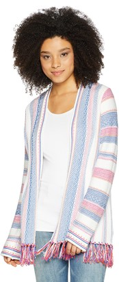 Foxcroft Women's Flora Fringed Stripe Cardigan