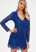 Missguided Blue Lace Plunge Frill Layer Skater Dress