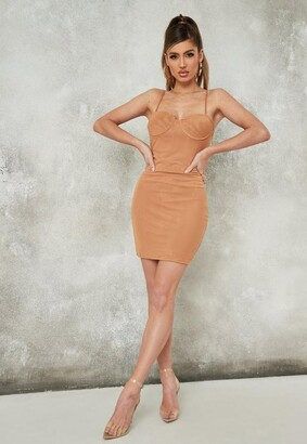 Missguided Tan Mesh Low Back Mini Dress