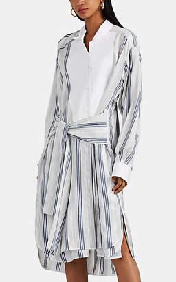 Loewe Women's Striped Silk Asymmetric Shirtdress - Navy
