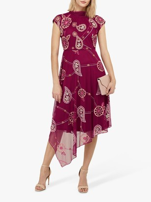 Monsoon Annelisse Embellished Floral Midi Dress, Berry