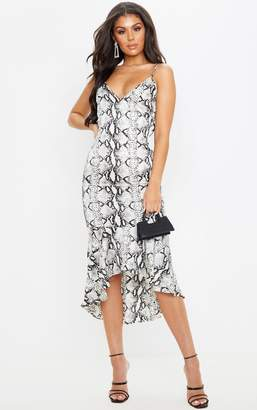 Pure Grey Snake Print Frill Hem Midi Dress