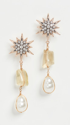 Anton Heunis Omega Clasp Stars with Quartz Earrings