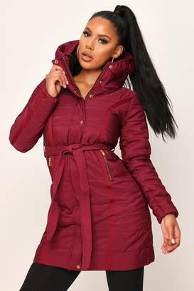 I SAW IT FIRST Wine Long Line Padded Belted Coat